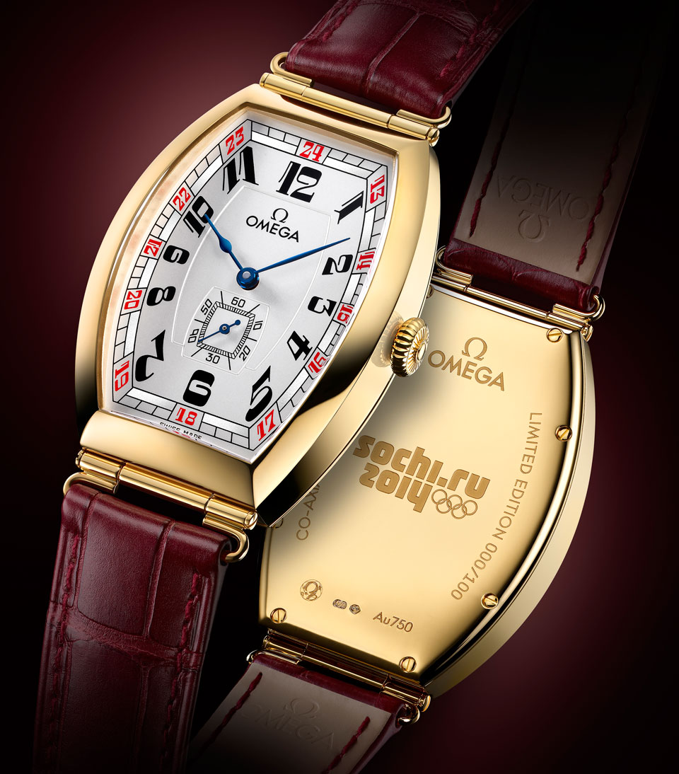 Omega sochi petrograd tonneau watch for the sochi 2014 winter olympics monochrome watches for Winter watches